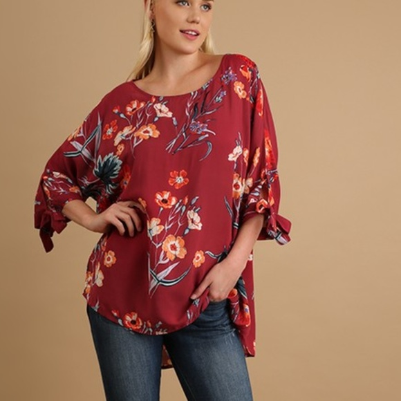 cf86f014ff5a4 floral print 3 4 Tie Sleeve Tunic blouse top